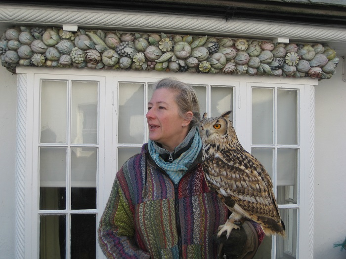 Tali and Eurasian Eagle Owl outside Oberammergau Cottage Clovelly North Devon